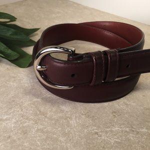 Coach dark brown leather belt silver hardware M